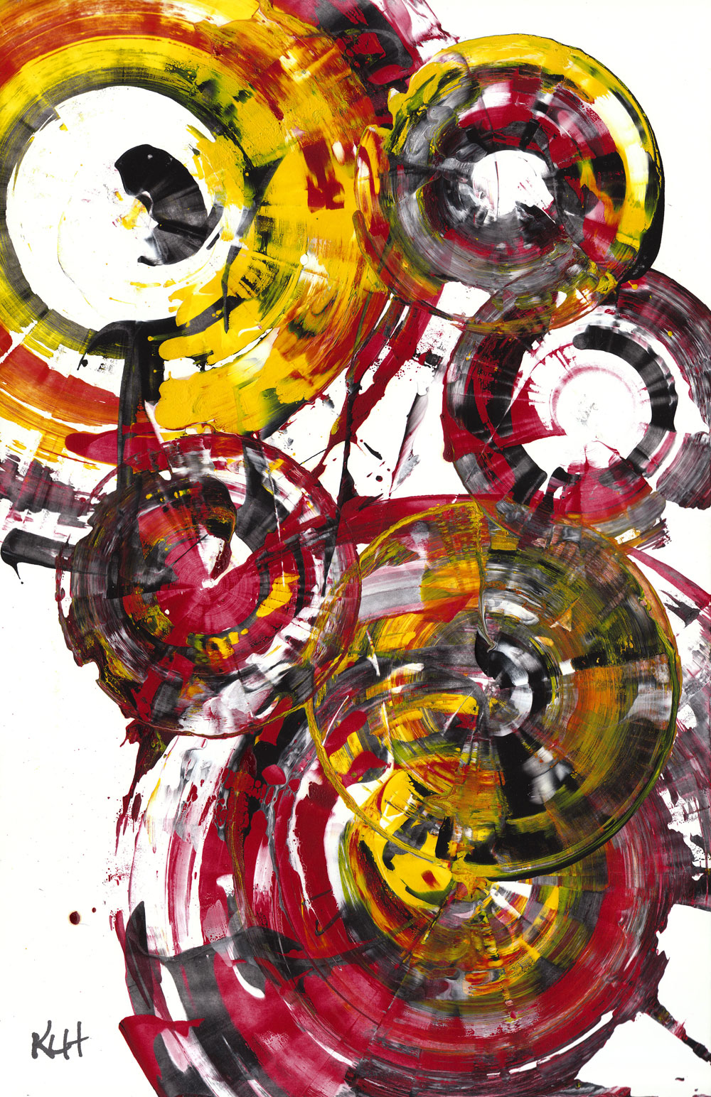 Contemporary Art Abstract Painting Modern Art Rich Round Red Spherical Joy 840 120911